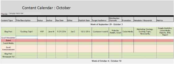 Marketing Communications, Content Calendar, Communications Calendar